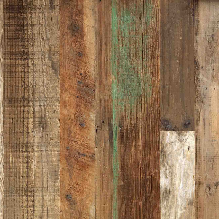 facade wall cladding in aged pine wood